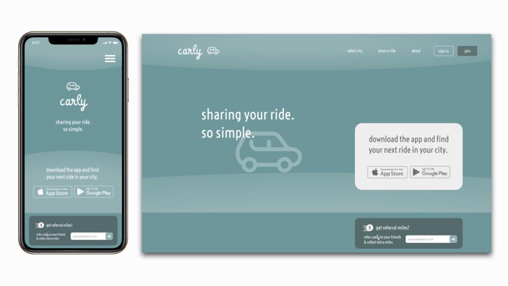 mobile and desktop landing page design for a car sharing app
