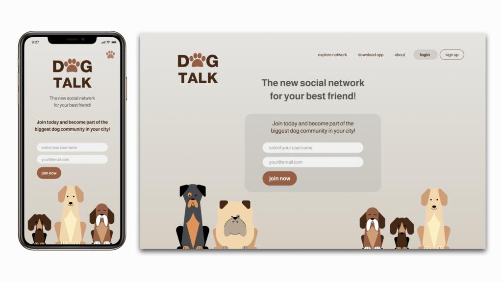 mobile and desktop landing page design for a new social media app to sign up